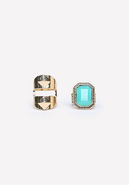 bebe Pyramid & Stone Ring Set