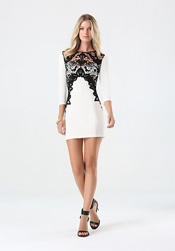 bebe Lace Applique Dress