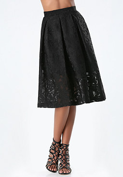 bebe Jacquard Tea Length Skirt