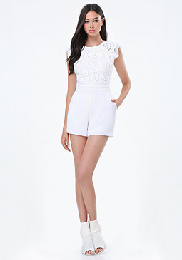 bebe Lace Open Back Romper