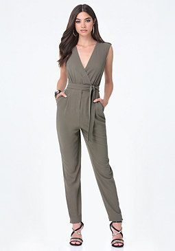 bebe Sleeveless Wrap Jumpsuit