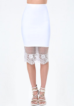 bebe Lace Trim Midi Skirt
