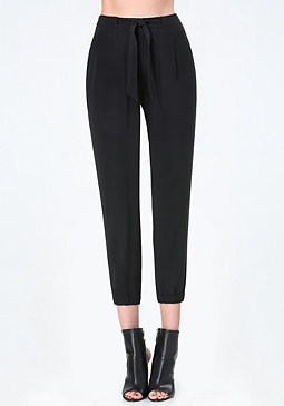 bebe Tie Waist Pleated Pants