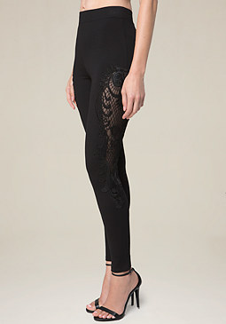 bebe Lace Pieced Leggings