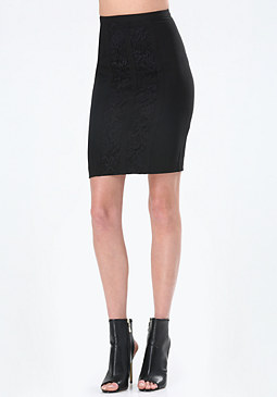 bebe Lace Panel Pencil Skirt