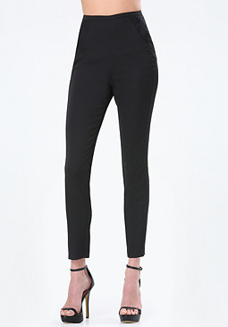 bebe Satin & Lace Detail Pants