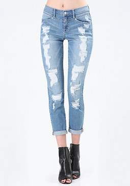 bebe V-Yoke Girlfriend Jeans