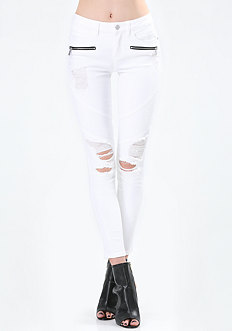 Destroyed Moto Skinny Jeans