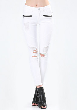 bebe Destroyed Moto Skinny Jeans