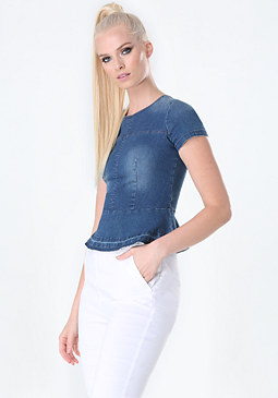 bebe Denim Peplum Top