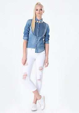 bebe Chambray Pintuck Shirt