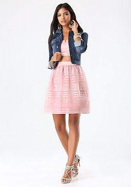 bebe Stripe Lace & Overlay Skirt