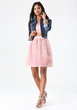bebe Stripe Lace & Overlay Skirt