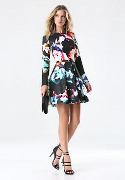 bebe Print Fit & Flare Dress