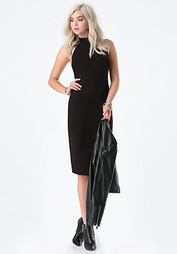 bebe Ponte Mock Neck Midi Dress