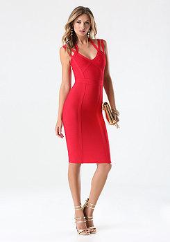 bebe 3-Strap Midi Bandage Dress