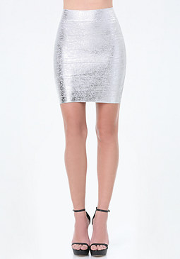bebe Brushed Foil Bandage Skirt