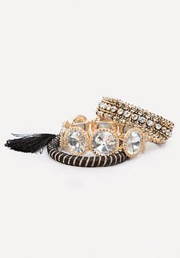 bebe Crystal & Cord Bracelet Set
