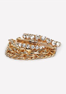bebe Chain & Crystal Bracelet