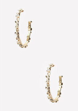bebe Tiny Flower Hoop Earrings