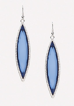 bebe Long Blue Crystal Earrings