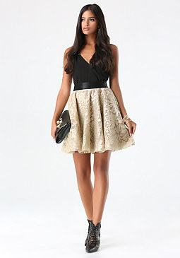 bebe Embroidered Circle Skirt