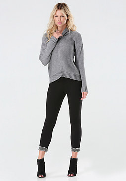 bebe Embellished Ponte Leggings