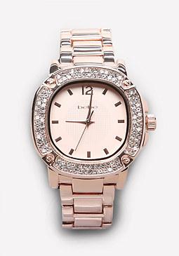 bebe Square Crystal Bezel Watch