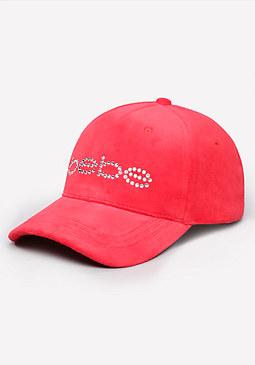 bebe Logo Velour Baseball Cap