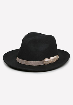 bebe Mesh & Metal Fan Fedora
