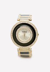 bebe Enamel & Crystal Watch