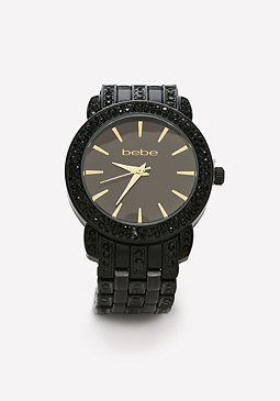 bebe Jet Black Crystal Watch