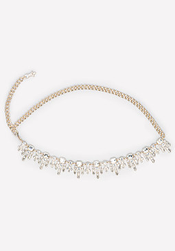 bebe Jeweled Fringe Chain Belt