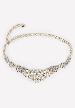 bebe Jeweled Flower Chain Belt