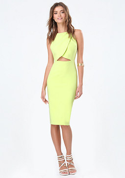 bebe Crossover Cutout Midi Dress