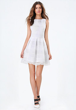 bebe Elastic Striped Dress
