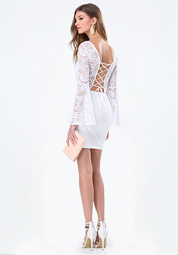 bebe Back Lace Up Dress