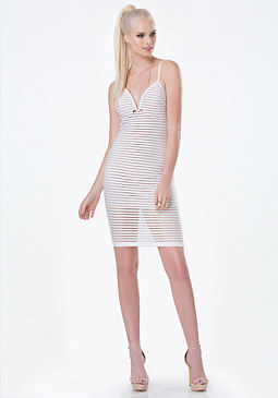bebe Shadow Stripe Plunge Dress