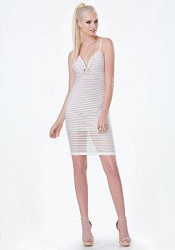 bebe Shadow Stripe Plunge Dress