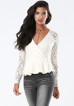 bebe Lace Surplice Peplum Top