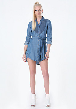 bebe Chambray Pintuck Dress