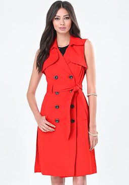 bebe Double Button Trench Coat