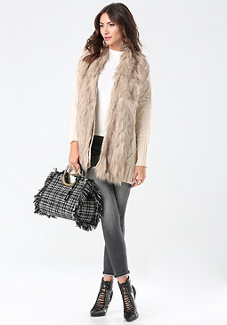 bebe Faux Fur Cocoon Cover Up