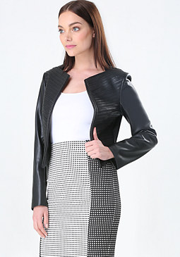 bebe Pieced Faux Leather Jacket