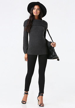 bebe Cable Boatneck Sweater
