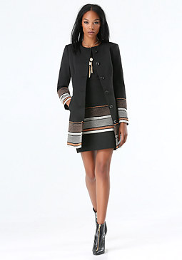 bebe Jacquard Car Coat