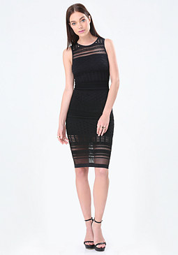 bebe Trixie Mesh Stripe Dress