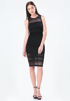 bebe Trixie Mesh Stripe Dress