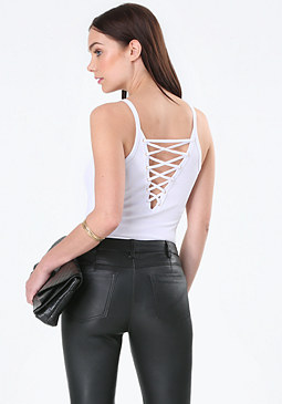 bebe Veronica Back Lace Up Tank