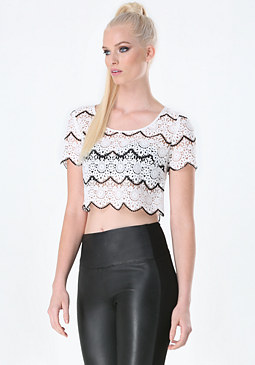 bebe Lily Crochet Lace Crop Top